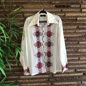 Mens Vintage Groovy Mexican Embroidered Shirt